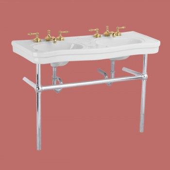 White Console Sink Double Deluxe Belle Epoque with Satin Nickel Bistro Legs Porcelain Double Console Sink Console Sink With Metal Legs Console Sink Bathroom