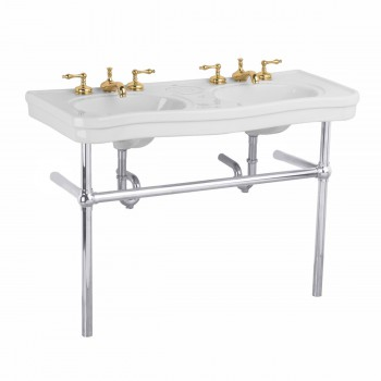 <PRE>White Console Sink Double Deluxe Belle Epoque with Satin Nickel Bistro Legs</PRE>zoom1