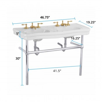 spec-<PRE>White Console Sink Double Deluxe Belle Epoque with Satin Nickel Bistro Legs</PRE>