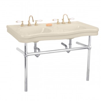 Biscuit Console Sink  Double Deluxe with Satin Nickel Bistro Legs Porcelain Double Console Sink Console Sink With Metal Legs Console Sink Bathroom