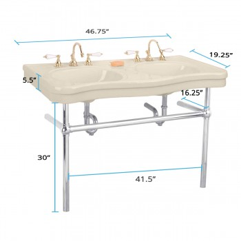 spec-<PRE>Bone Console Sink  Double Deluxe with Satin Nickel Bistro Legs</PRE>