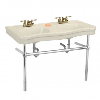 <PRE>Bone Console Sink Double Deluxe Belle Epoque with Satin Nickel Bistro Legs</PRE>zoom1