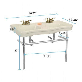 spec-<PRE>Bone Console Sink Double Deluxe Belle Epoque with Satin Nickel Bistro Legs</PRE>