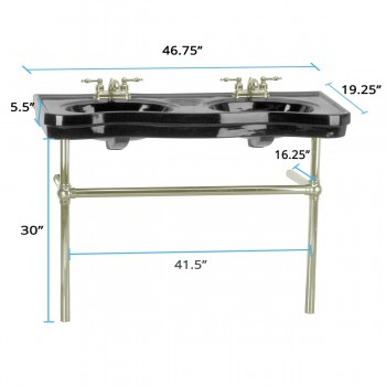 spec-<PRE>Black Console Sink Double Deluxe Belle Epoque with Satin Nickel Bistro Legs</PRE>