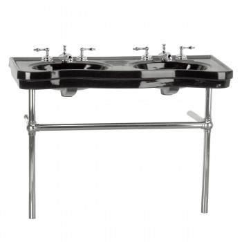 Black Console Sink Double Deluxe Belle Epoque with Satin Nickel Bistro Legs22262grid