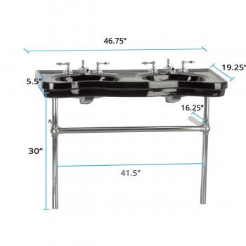 spec-<PRE>Black Console Sink Double Deluxe Belle Epoque with Satin Nickel Bistro Legs</PRE>