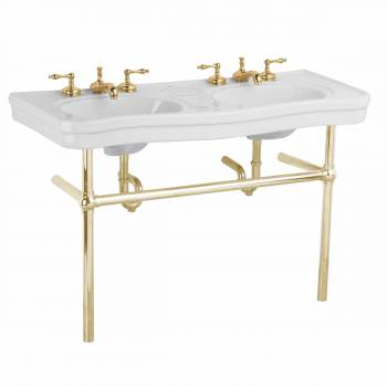 White Console Sink Double Deluxe Belle Epoque with Brass Bistro Legs22263grid