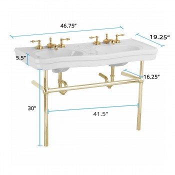 spec-<PRE>White Console Sink Double Deluxe Belle Epoque with Brass Bistro Legs</PRE>