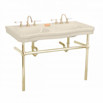 Bone Console Sink Double Deluxe Belle Epoque with Brass Bistro Legs22264grid