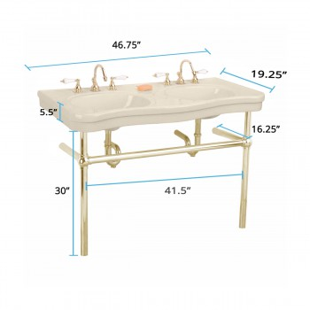 spec-<PRE>Bone Console Sink Double Deluxe Belle Epoque with Brass Bistro Legs</PRE>