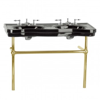 Black Console Sink Double Deluxe Belle Epoque with Brass Bistro Legs22267grid