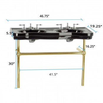 spec-<PRE>Black Console Sink Double Deluxe Belle Epoque with Brass Bistro Legs</PRE>