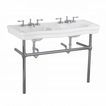 White Console Sink Double Deluxe with Black Nickel Bistro Legs22268grid