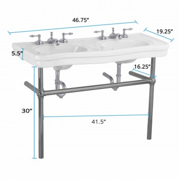 spec-<PRE>White Console Sink Double Deluxe with Black Nickel Bistro Legs</PRE>