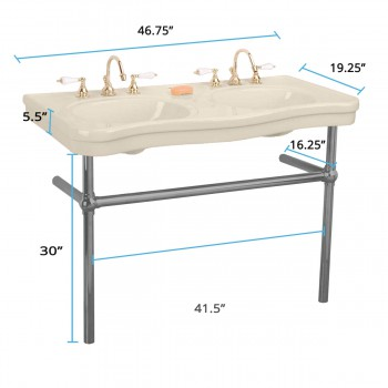 spec-<PRE>Bone Console Sink Double Deluxe with Black Nickel Bistro Legs</PRE>