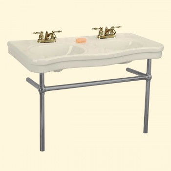 Biscuit Console Sink Double Deluxe with Black Nickel Bistro Legs Porcelain Double Console Sink Console Sink With Metal Legs Console Sink Bathroom