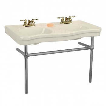 Bone Console Sink Double Deluxe with Black Nickel Bistro Legs22270grid