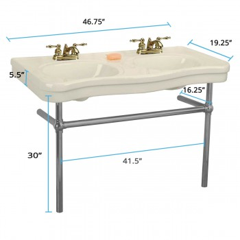 spec-<PRE>Biscuit Colored Console Sink Double Deluxe with Black Nickel Bistro Legs</PRE>