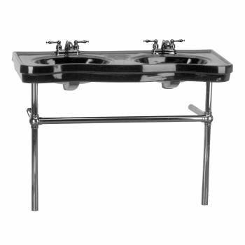 Black Console Sink Double Deluxe with Black Nickel Bistro Legs22271grid