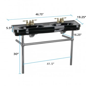 spec-<PRE>Black Console Sink Double Deluxe with Black Nickel Bistro Legs</PRE>