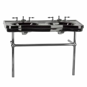 Black Console Sink Double Deluxe with Black Nickel Bistro Legs22272grid