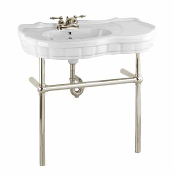 Console Sink White Porcelain Southern Belle Satin Nickel Bistro Support Legs22274grid