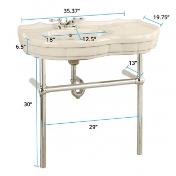 spec-<PRE>Bone Console Sink Southern Belle with Satin Nickel Bistro Legs</PRE>