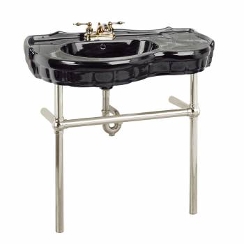 Black Console Sink Southern Belle with Satin Nickel Bistro Legs22277grid