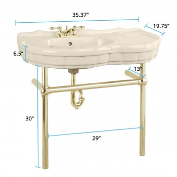 spec-<PRE>Bone Console Sink Southern Belle with Brass Bistro Legs</PRE>