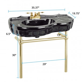 spec-<PRE>Black Console Sink Southern Belle with Brass Bistro Legs</PRE>