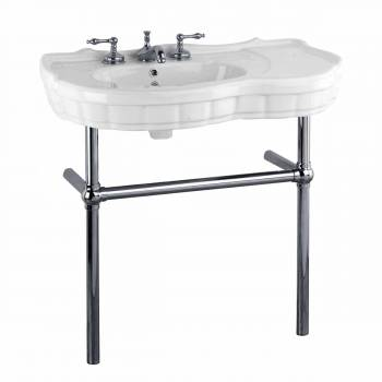 White Console Sink China Southern Belle with Black Nickel Bistro Legs22283grid