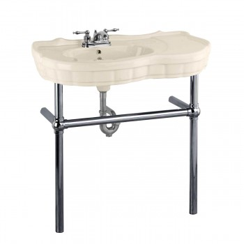 <PRE>Bone Console Sink China Southern Belle with Black Nickel Bistro Legs</PRE>zoom1