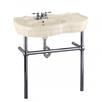 Bone Console Sink China Southern Belle with Black Nickel Bistro Legs22286grid