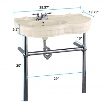 spec-<PRE>Bone Console Sink China Southern Belle with Black Nickel Bistro Legs</PRE>