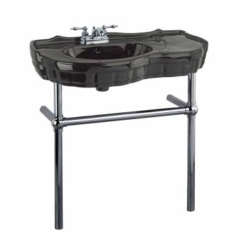 Black Recessed Console Sink With Black Nickel Bistro Legs22287grid
