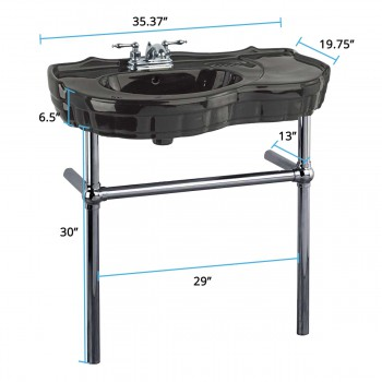 spec-<PRE>Black Recessed Console Sink With Black Nickel Bistro Legs</PRE>