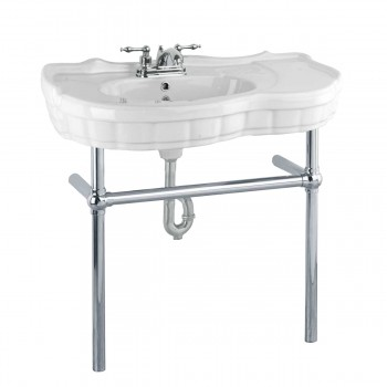 White Console Sink China Southern Belle with Chrome Bistro Legs22288grid
