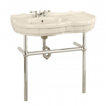 Renovator's Supply Biscuit Console Sink Southern Belle with Chrome Bistro Legs22289grid