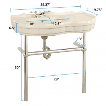 spec-<PRE>Renovator's Supply Biscuit Console Sink Southern Belle with Chrome Bistro Legs</PRE>