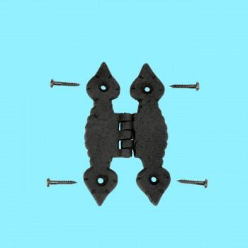<PRE>Cabinet H Hinge Hardware Black Iron Quad Spear Design Screws Included</PRE>zoom2