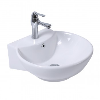 White Wall-Mount Small Sink Easy Clean and Install with pop up drain and single 22309grid