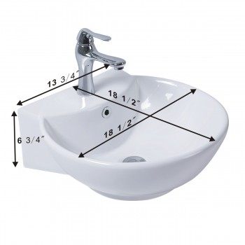 spec-<PRE>White Wall-Mount Small Sink Easy Clean and Install Scratch and Stain Resistant with pop up drain and single hole faucet </PRE>