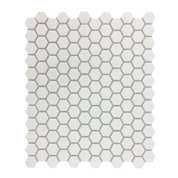 White Matte Porcelain Mosaic Hexagon Floor Wall Tile 1 Tile Sheet 10.25