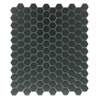 Black Matte Porcelain Mosaic Hexagon Floor and Wall Tile 1 Sheet 10.25
