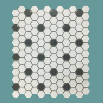 White and Black Matte Floor Tile Porcelain Mosaic Hexagon 1 Sheet 10.25 x 11.8 Floor or Wall Tile Hexagon Hexagonal Wall Backsplash Tile Sheet Black and White Floor Wall Kitchen Bathroom Tile