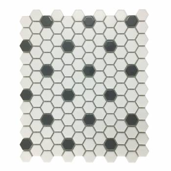 White and Black Matte Floor Tile Porcelain Mosaic Hexagon 1 Sheet 1025 x 118