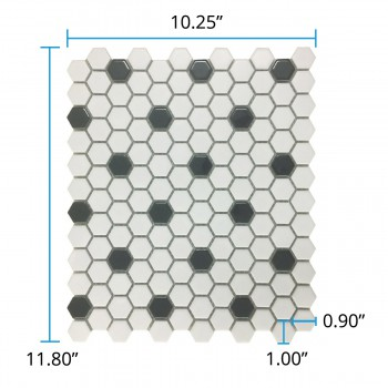 "spec-<PRE>Glossy White & Black Floor Tile Porcelain Mosaic Hexagon 1 Sheet 10.25"" x 11.8""</PRE>"