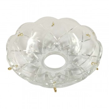Vintage Bobeche Clear Crystal 6 Prism Hole Scallop 4