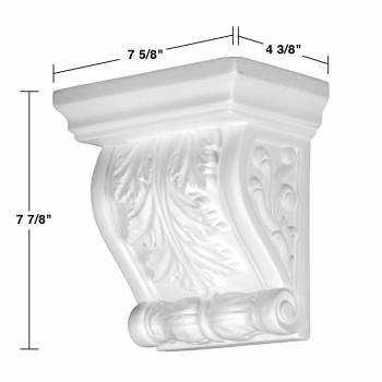 spec-<PRE>2 Victorian Wall Fireplace Corbel White Urethane Vintage Set of 2</PRE>