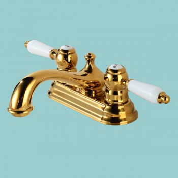 spec-<PRE>Brass Centerset Bathroom Faucet La Bella Design Combo Set with Matching Brass Pop Up Drain White Handles Accents Includes Supply Lines </PRE>